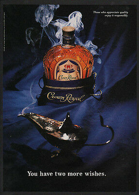 1993 CROWN ROYAL Canadian Whisky - GENIE LAMP & 2 WISHES - VINTAGE ADVERTISEMENT