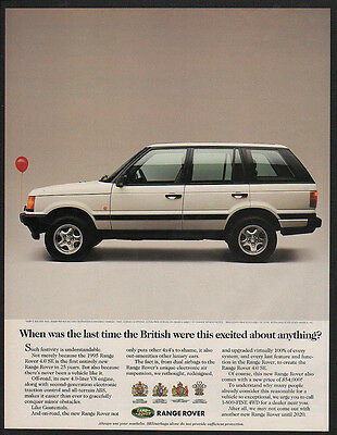 1995 White LAND ROVER RANGE ROVER SUV Car VINTAGE AD