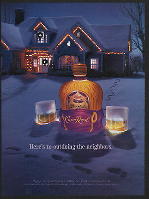 2002 CROWN ROYAL Whisky Christmas - Here's To Outdoing The Neighbors  VINTAGE AD