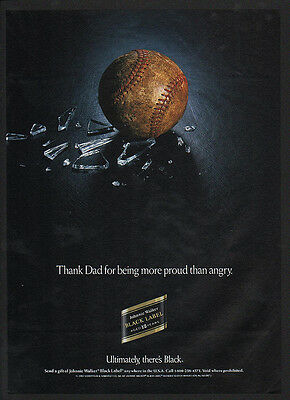 1993 JOHNNIE WALKER Black Label Scotch - BASEBALL & BROKEN GLASS -  VINTAGE AD