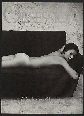 1993 CALVIN KLEIN OBSESSION Men's Cologne - KATE MOSS NUDE BUTT - VINTAGE AD