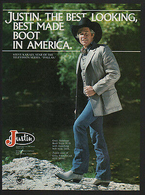 1981 JUSTIN Boots - STEVE KANALY - Star of the TV show DALLAS -  VINTAGE AD