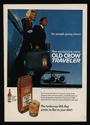 1967 OLD CROW Whisky & Suitcase Traveler Fifth - Flask - Jet - VINTAGE AD