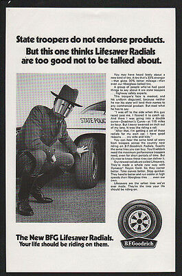 1970 B.F. GOODRICH Tires - Masked State Police Trooper - Cop -  VINTAGE AD