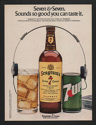 1981 SEAGRAM'S 7 Whiskey - So Good You Can Taste It - 7 Up - Walkman  VINTAGE AD