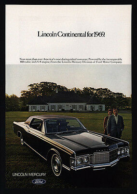 1969 LINCOLN CONTINENTAL Luxury Car VINTAGE AD