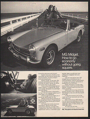 1972 MG MIDGET Convertibe Car - Go Economy Without Going Square -  VINTAGE AD