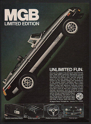 1979 MG MGB Limited Edition Black Convertible Car - Unlimited Fun - VINTAGE AD