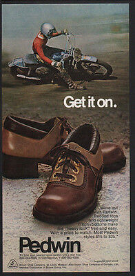 1973 PEDWIN Men's Shoes - Get It On - Motorcycle - VINTAGE AD