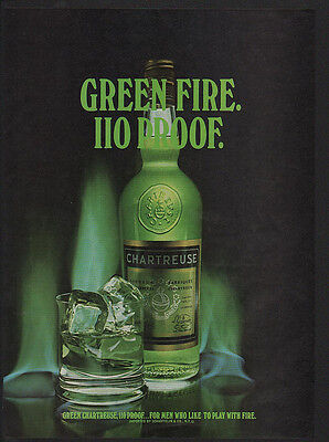1973 Green CHARTREUSE 110 Proof Liquor - GREEN FIRE - VINTAGE ADVERTISEMENT