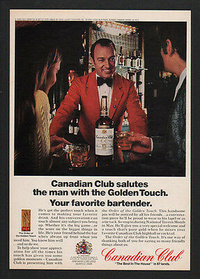1973 CANADIAN CLUB Whisky - Salutes Your Favorite Bartender -  VINTAGE AD