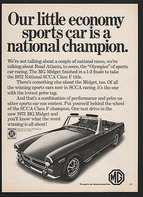 1973 MG MIDGET Convertible Sports Car - Our Car is National Champion VINTAGE AD
