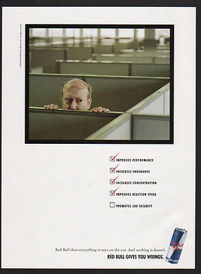 2003 RED BULL Energy Drink - Promotes Job Security - Humorous VINTAGE AD