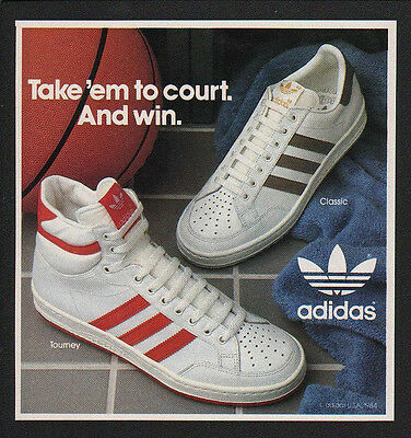 1984 ADIDAS TOURNEY & CLASSIC Hi-Top Basketball Shoes Sneakers - VINTAGE AD