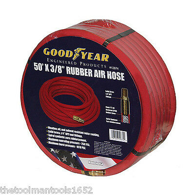 """RED 3/8"""" x 50' Goodyear Rubber Hose Air Tool Compressor Oil Grease Hoses usa"""