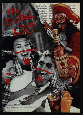 1995 CAPTAIN MORGAN Rum - The Captain Was Here - Drawn On Moustache VINTAGE AD