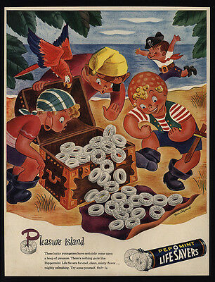1945 LIFE SAVERS Candy - Kid Pirates - Parrot - Treasure Chest - VINTAGE AD