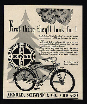 1939 SCHWINN Bicycles - Christmas Gift -  VINTAGE AD