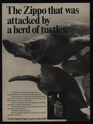 1969 ZIPPO Lighters - Attacked By A Herd Of Turtles - Ocean - VINTAGE AD
