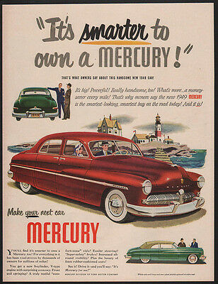 1949 MERCURY V-8 Red Car - Smarter To Own A Mercury! - LIGHTHOUSE - VINTAGE AD