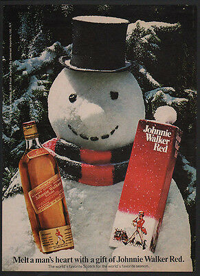 1974 JOHNNIE WALKER RED Scotch Whisky - CHRISTMAS SNOWMAN Man's Heart VINTAGE AD