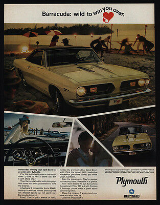 1967 PLYMOUTH BARRACUDA V8 Muscle Car - Doom for City of Dullsville - VINTAGE AD