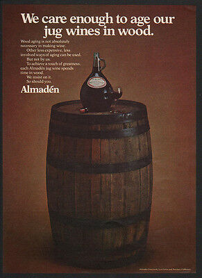 1974 ALMADEN WINE Cares Enough To Age our Jug Wine in Wood Barrels VINTAGE AD