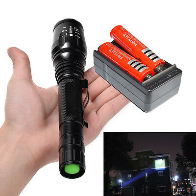2000LM UltraFire CREE XM-L T6 LED Flashlight Torch+Rechargeable 18650&Charger