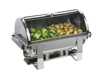 STAINLESS STEEL ROLL TOP CHAFING DISH FULL SIZE 9Ltr FREE NEXT DAY DELIVERY