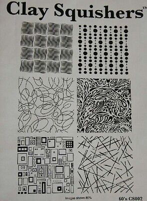 clay squishers, rubber stamps for polymer clay with groovy 60's designs