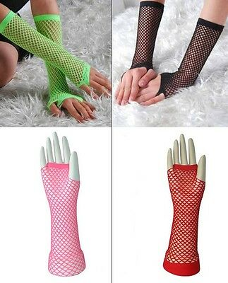 Fishnet Fingerless Gloves Neon Long Elbow Length 24cm Party/Club/Opera/Dance 6 C