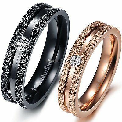 Frosted Stainless Steel Engagement Ring Mens Black Womens Gold Tone Wedding Band