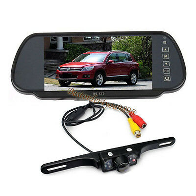 "7 LED IR Reverse Car Rear View Camera Waterproof + 7"" Car LCD Mirror Monitor Kit"