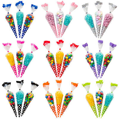 50/100 x Cello Cone Sweet Treat Display Favor Gift Party Bags Clear / Colour