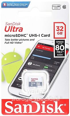 SanDisk Ultra 32 GB micro SD SDHC Class 10 UHS 80MB Memory Card TF 32G extreme