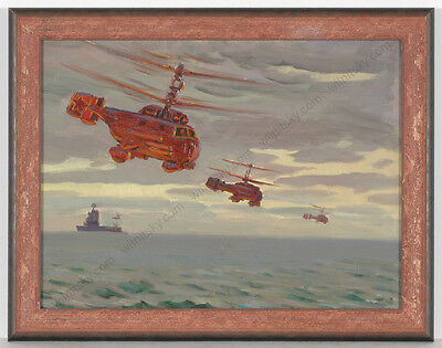 "Piotr Kolomoitsev (b.1924), ""Helicopter Attack"", Oil Painting, 1981"
