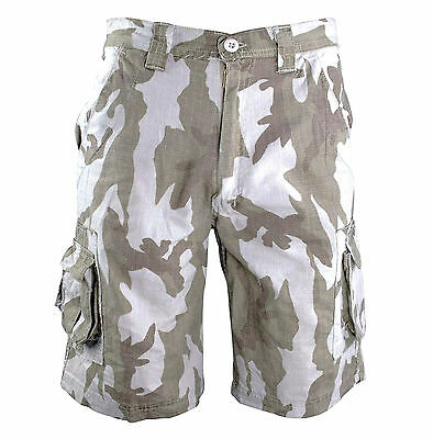 MENS 100% COTTON COMBAT CARGO SHORTS Tundra Desert camo Gents stonewashed grey