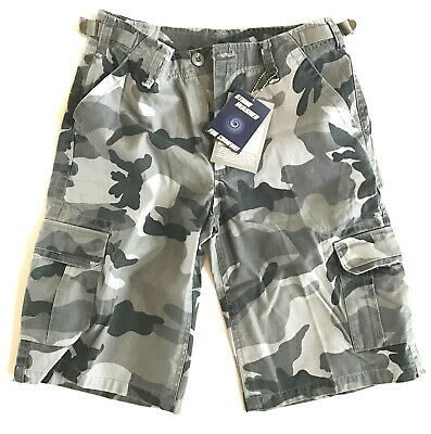 MENS BLACK CAMO CARGO SHORTS 100% cotton Stone washed Gents para combat XS S & M