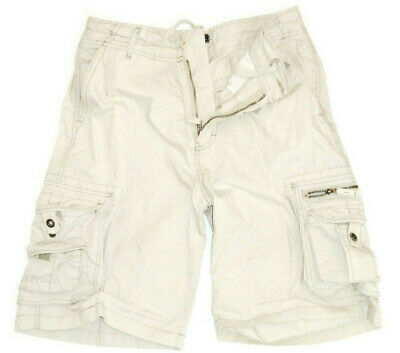 MENS 100% COTTON CREAM CARGO SHORTS Gents stone washed hiking combats 8 pockets