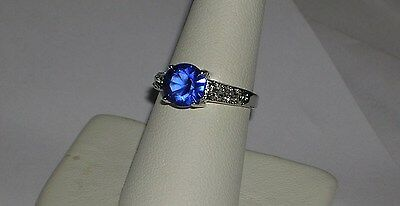 Ladies 6.5mm Round Cut Blue Sapphire Ring Size 6.5 only