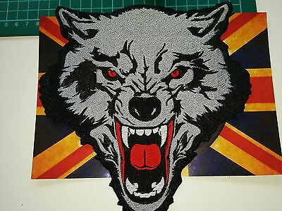 "Es0086  Large Patch  8"" Wolf Iron On / Sew On Fully Embroidered Superb Detail"