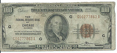 1929 Federal Reserve Bank CHICAGO, IL $100 National Currency Note