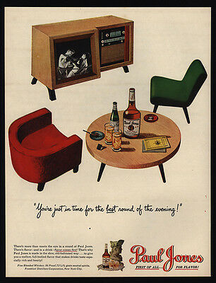 1947 PAUL JONES Whiskey - Television - TV - Boxing - Retro Chairs - VINTAGE AD