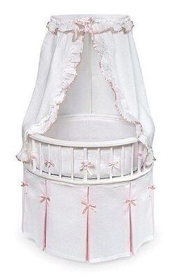 White Wood Round Infant Baby Girl Bassinet Bed White w/Pink Trim NEW
