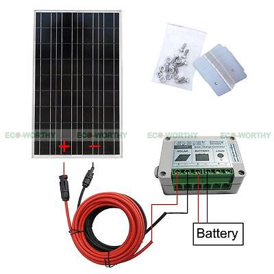 Complete Kit 100W Solar Panel Module System for 12V RV Boat Home Battery Charger