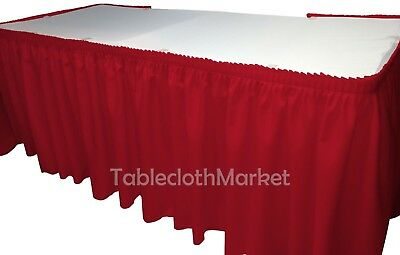 21' POLYESTER PLEATED TABLE SKIRT RED skirting  Wedding Trade show