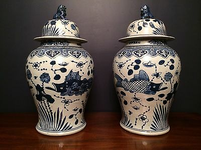 PAIR OF CHINESE BLUE AND WHITE PORCELAIN GINGER JARS TEMPLE JARS 24 inches tall