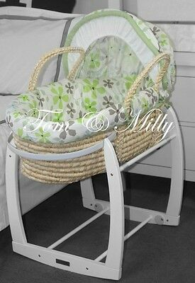 SALE!! NEW Green Flowers MOSES BASKET / Bassinet & WHITE ROCKING STAND Package