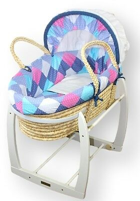 SALE!! NEW CHECKERS MOSES BASKET Bassinet & WHITE ROCKING STAND Package