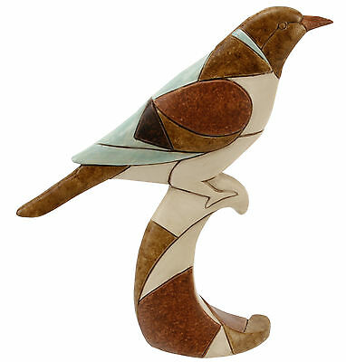 Figurine Of A Bird Wood Effect With Patchwork Design By Juliana - Quality Resin